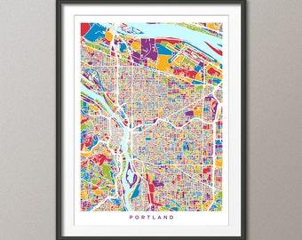Portland Map, Portland Oregon City Map, Art Print (2741)