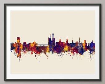 Iowa City Iowa Skyline, Iowa City Cityscape Art Print (2787)