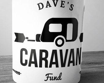 Personalised Caravan Fund Ceramic Money Box Piggy Bank Savings Jar Hand Printed xmas christmas caravanner caravanning motorhome awning van