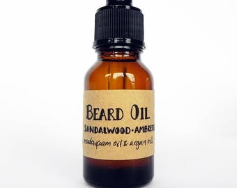BEARD OIL - Choose your scent - Sandalwood Ambrette Seed - Oak Moss Black Spruce