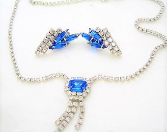 Art Deco Blue Rhinestone -  Necklace Earrings - Clear Rhinestone Jewelry - Vintage Wedding Set