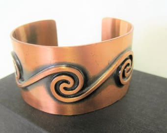 Solid Copper Cuff - Signed Bell Trading Post -  Modernist Wide Bracelet