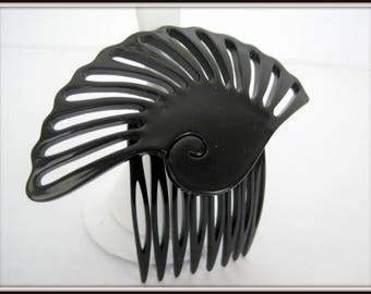 Art Deco Hair Comb - Black Lucite - Large Hair Ornament