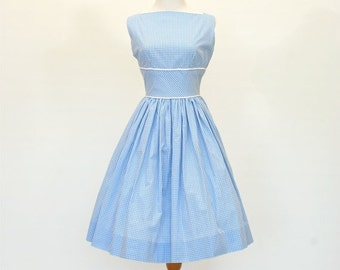 20% OFF Sale 50's/60's Custom Fit and Flare Dress, Retro Blue Gingham Dress, Lady Dress