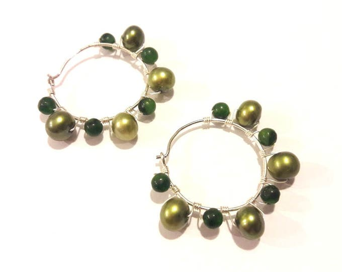 Green Pearl Hoop Earrings with Silver Wire Work, Handmade Jewelry