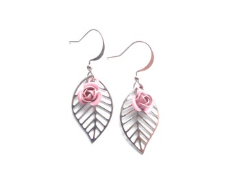 Nature Earrings, Flower Earrings, Floral Earrings, Leaf Earrings, Pink Earrings, Silver Earrings, Lightweight Earrings, Gift For Woman