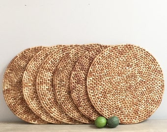 Vintage Woven Rattan Seagrass Placemats Chargers Basketweave Set of Six 6 Casual Coastal Tableware