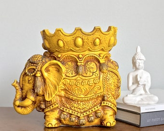 Vintage Elephant Statue Figurine Dish Holder Golden Yellow Universal Statuary Boho Moroccan Indian Decor