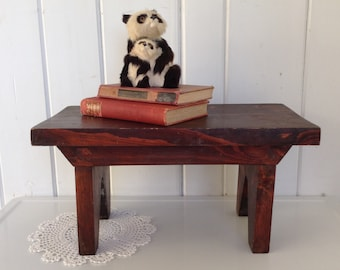 Small Vintage Bench Walnut Colored Farmhouse Style Primitive