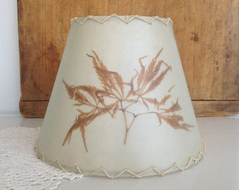 Vintage Fiberglass Lamp Shade With Pressed Autumn Plant Standard Bulb Clip Fitter