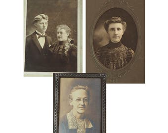 Antique Photographs- Choice of Three portraits- Sepia- Late 1800's- Early 1900's- Edwardian Young Couple- Gibson Girl Victorian-- Vintage-