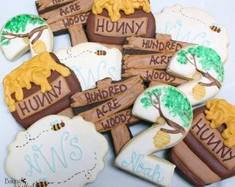 Pooh Inspired Cookies, Pooh Bear Inspired Cookies, Bear Birthday, Custom Sugar Cookies, decorated sugar cookies, hunny pot cookies, monogram
