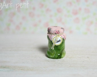 Sliced lime in a jar  for dollhouse - 1/12 scale