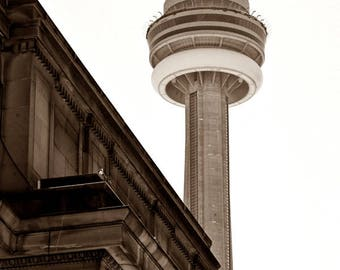 CN Tower, Toronto Travel Photography, Sepia Toned Photography, Brown Toned Photos, Monochrome, Architectural Photography, Industrial Chic