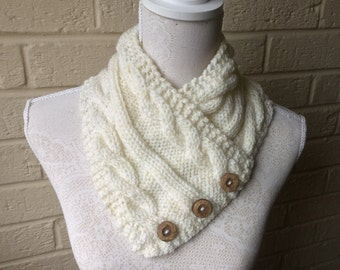 Stylish Aran Button Crossover Cowl, Warm Cable V Shaped Neckwarmer. Knitted Cream Collar Scarf. (Natural) Adult or Teens. Great accessory