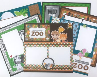 12x12 Zoo Scrapbook Page Kit or Premade Pre-Cut with Instructions 6 pages Animals Elephants Tigers Monkeys