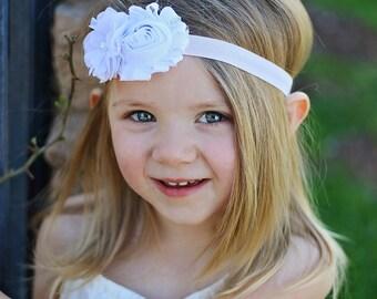 Pink & White Baby Headband - Pearl Rhinestones - Newborn Baby Infant- Photo Prop Flower Girl