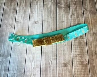 Teal & Gold Pineapple Headband  - Glitter Bow - Summer - Newborn Infant Baby Toddler Girls Preemie