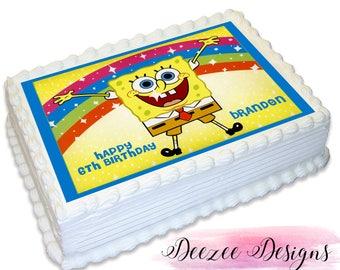 Spongebob Squarepants Personalised A4 Edible Icing Cake Topper