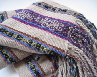 Vintage Woven Ethnic Textile Beige and Purple Fringed Scarf
