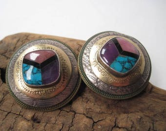 Vintage Signed Tabra Mixed Metal Pierced Earrings with Colorful  Inlaid Gem Stones