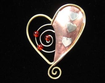 Vintage Mixed Metal Heart Brooch with Swirls, Red Beads, Brass Wire & Hearts, Partial Copper Foundation.