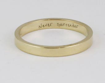 Personalized Stacking Gold Ring - 2.5mm x 1.2mm - 14k or 18k - Wedding Band - Custom Handwriting Coordinates