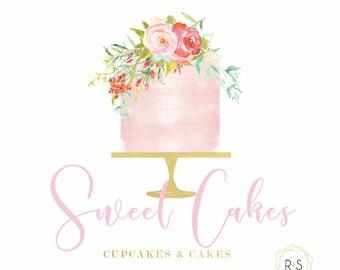 Bakery Logo, Pre-Made Logo,Watermark, Logo, Watermark, Boutique, Bakery Logo, Bakery, Pre-made, Watercolor Logo, Pink Logo, CakeLogo
