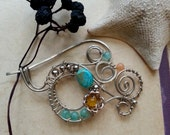 Silver Shawl pin, Scarf pin Turquoise sweater pin or shawl clasp in swirly design with stones, wire wrapped brooch German silver, closure