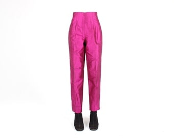 SALE - Divine 80s Magenta Metallic SILK Perfectly Fitted / Tailored Tapered Slim Leg High Waist Pants / Trousers