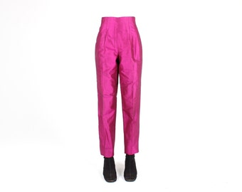 Divine 80s Magenta Metallic SILK Perfectly Fitted / Tailored Tapered Slim Leg High Waist Pants / Trousers