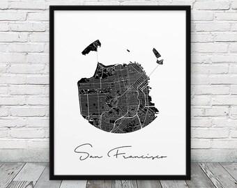 San Francisco City Map Print. San Francisco Urban Street Map Poster. Black & White San Francisco California. Abstract Decor. Printable Art
