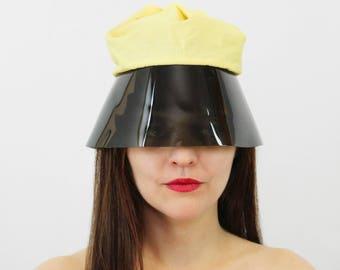 vintage 60s mod hat / 1960s futuristic sun hat / plastic visor sun hat / rare 60s mod hat / drawstring cotton and plastic hat / retro future