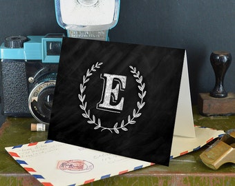 """Letter E Monogram Card - 4""""x5"""" greeting card - Instant download & print - Capital Letter E"""
