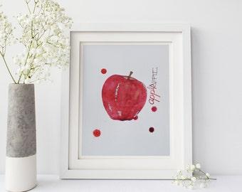 Printable: Apple Watercolor, Kitchen Art, Watercolor Print, Digital Download Print, Kitchen Print