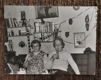 Original Vintage Photograph Festive Drinkers