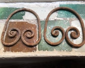 Antique Architectural Salvage Small Cast Iron Window Grill Decor Pieces. Set of Two