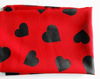 German Vintage Red Sytnethic Fabric with Printed Black Hearts Restpiece for sewing / Sewing supply yardage from the 80s