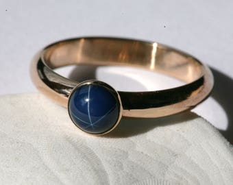 Created Blue Star Sapphire and 14K Gold Filled Ring