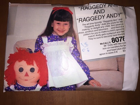 "McCall's Sewing Pattern 8078 36"" Raggedy Ann and Andy Dolls and Childs Apron"