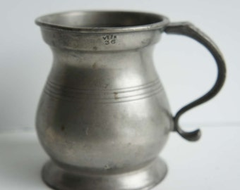 Antique Pewter Tankard Measuring Cup Half Pint Hallmarks Stamp Signed Victoria George