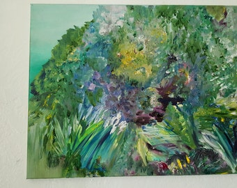 Riverside Splendor, Floral Impressionism, Original Oil 16,20, Botanical Abstract, Kathleen Leasure, FromGlenToGlen
