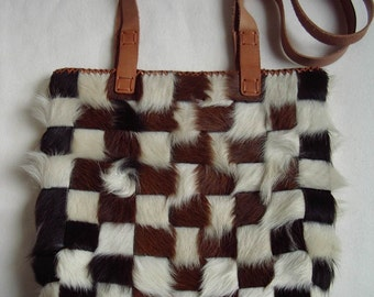 Interwoven Cowhide Leather Tote