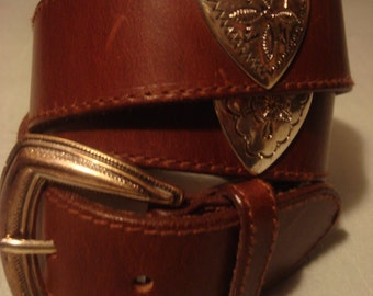 Vintage Boho Fossil Distressed Smooth Brown Concho Belt with Silver Ornate Heart Detail