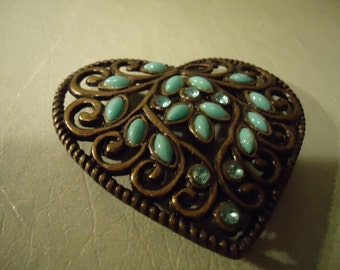 Vintage 1980 Turquoise Heart Shaped Belt Buckle