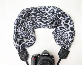 Scarf Camera Strap - camera strap for dSLR digital cameras - black and white animal print - neck strap - camera strap scarf