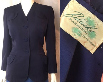 Classic 1940s suit jacket in navy