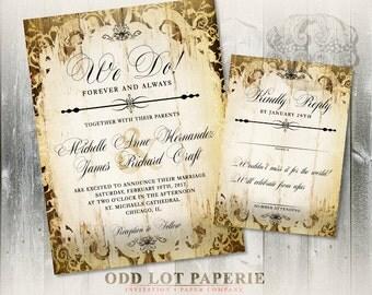 Rustic Industrial Wedding Invitation, Industrial Chic Wedding Invites, Vintage, Industrial, Printable Invitation, Wood, Romantic Invitation