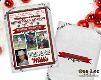 Baseball Christmas Cards, Printable Christmas Cards, Baseball Themed Christmas Photo Card, Sports Team, Team Colors, DIY Printable Invite