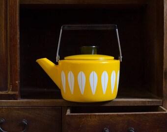 Vintage Cathrineholm Enamelware Yellow Lotus Teapot - Mid Century